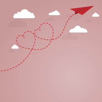 Avião de papel e coração forrado tracejado