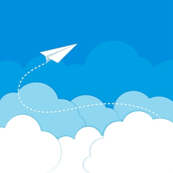 Avião de papel nas nuvens em um fundo azul