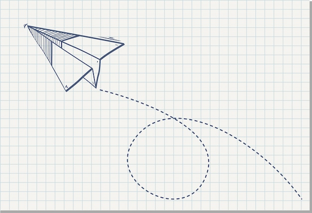 Avião de papel origami na folha de caderno