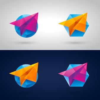 Avião de papel poligonal