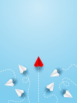 Avião de papel vermelho, mudando de direção do avião de papel branco