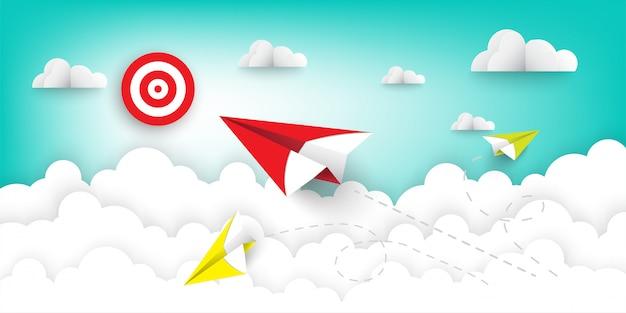 Avião de papel vermelho voando