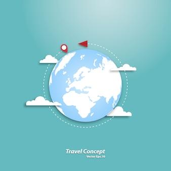 Avião de papel voando ao redor do mundo