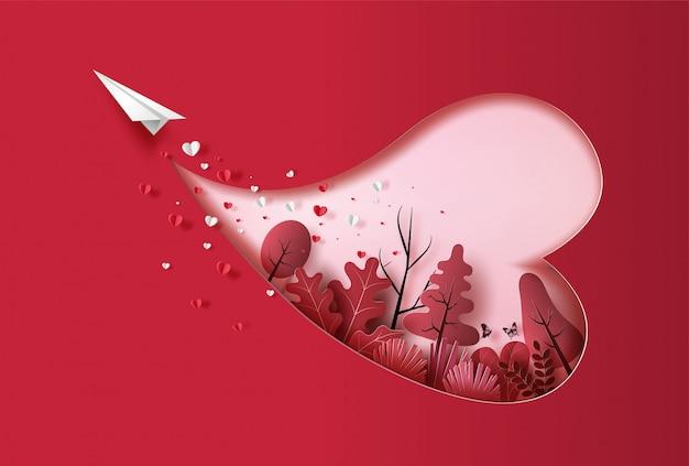 Avião de papel voando no céu com muitos coração flutuando e plantas, estilo de arte de papel, ilustração de estilo simples.