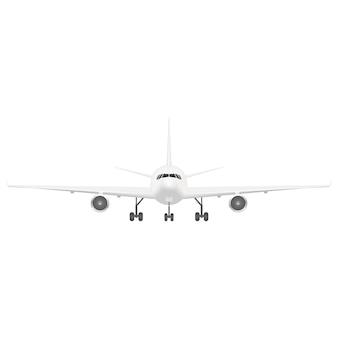 Avião de passageiro branco. vista frontal.
