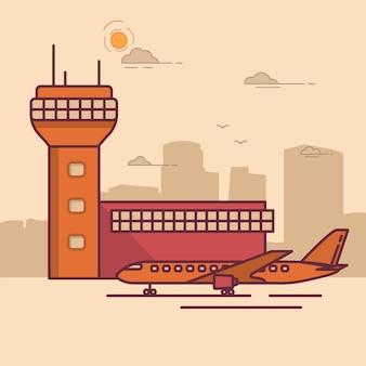 Avião de passageiros da torre terminal do aeroporto.