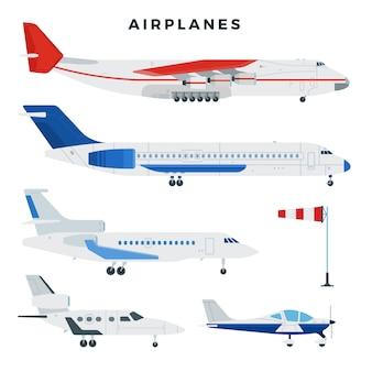 Avião de passageiros e carga, conjunto. aviões, vista lateral. tipos modernos de aviões. ilustração.