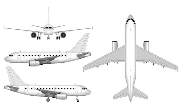 Avião de passageiros grande realista. vista de cima; vista frontal; vista lateral.