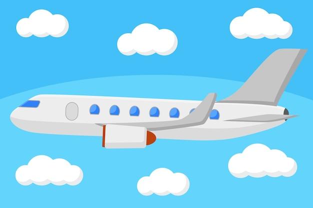Avião de passageiros voando no céu acima das nuvens. vôo aéreo