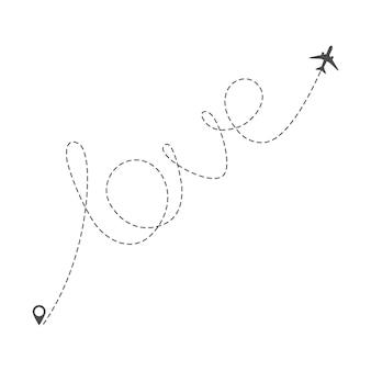 Avião de rota com linha pontilhada da palavra amor. viagem ou férias românticas do dia dos namorados. amo viajar de avião. ilustração vetorial isolada