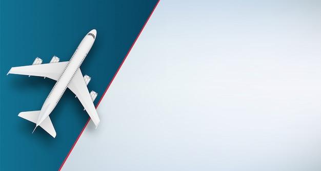 Avião de vista superior. viajar de avião de férias.