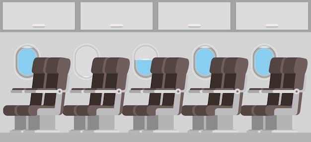 Avião de windows com cadeiras