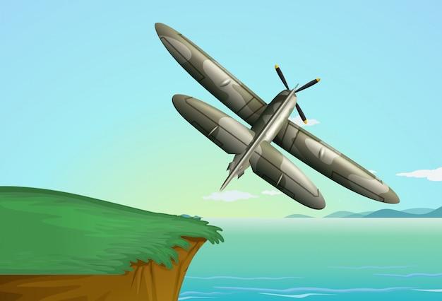 Avião do exército voando sobre o oceano