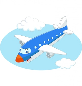 Avião dos desenhos animados, voando no céu