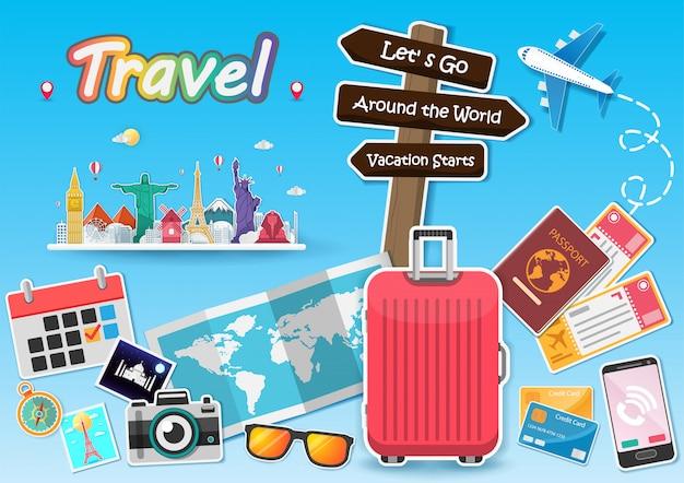 Avião e acessórios viajam ao redor do conceito de mundo.
