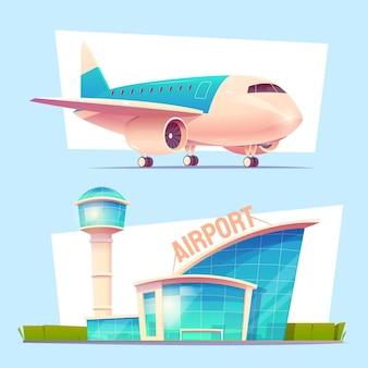 Avião e aeroporto ilustrados