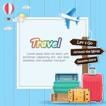 Avião e bagagem viajam ao redor do conceito de mundo.
