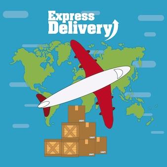 Avião e caixas ao longo do mundo mapa vector design gráfico ilustração