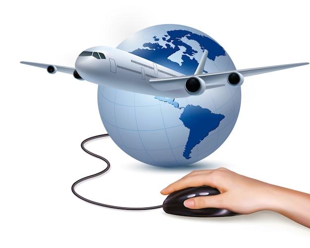 Avião e mão com mouse isolado no branco