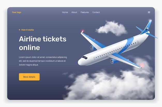 Avião e nuvens voadoras isométricas. modelo de página de destino.