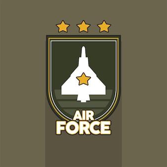 Avião em emblema militar escudo da força aérea