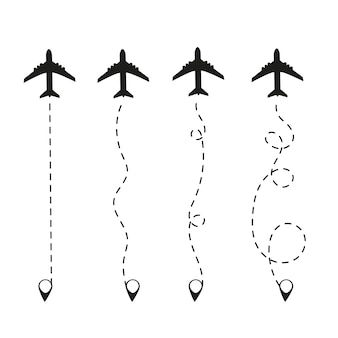 Avião em uma linha pontilhada. waypoint projetado para uma viagem turística. sobre um fundo branco turismo e viagens.