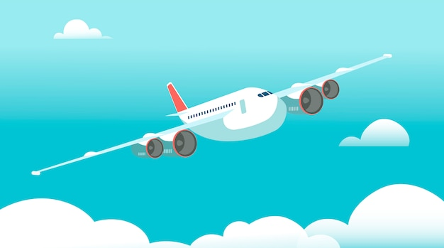 Avião em voo com nuvens brancas e ilustração de céu azul