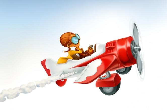 Avião engraçado, desenho de vetor 3d isolado