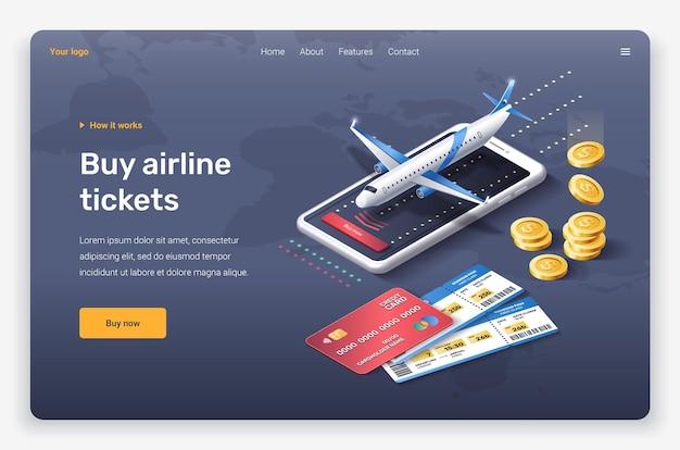 Avião isométrico, moedas, cartão de crédito e bilhetes. modelo de página de destino.