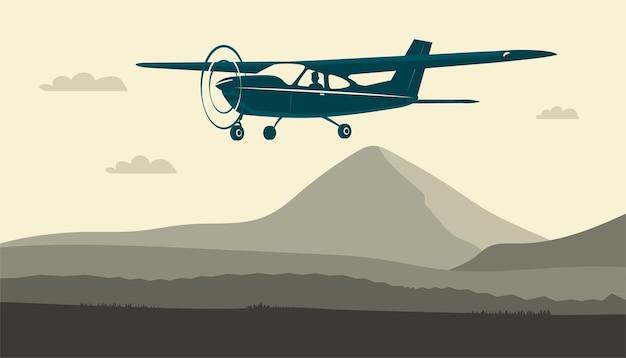 Avião monomotor leve com vôo piloto contra o fundo de uma paisagem abstrata