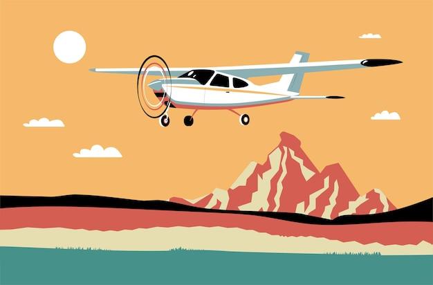 Avião monomotor leve voa contra o fundo de uma paisagem abstrata