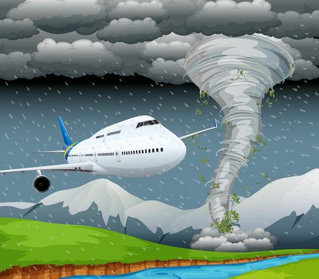 Avião na cena da tempestade