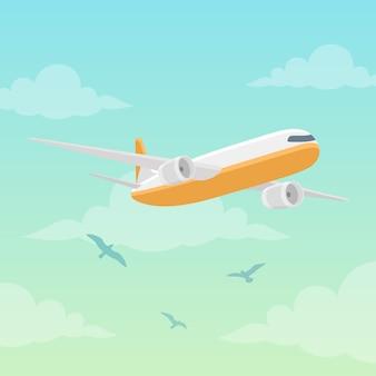 Avião na ilustração do vetor do céu