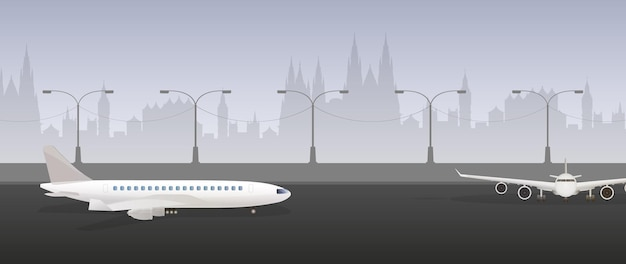 Avião na pista. pista de decolagem. vetor Vetor Premium