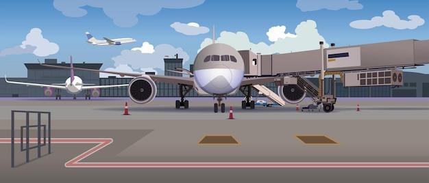 Avião na plataforma do aeroporto, esperando, viajando.