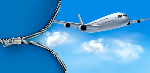 Avião no céu azul com zíper