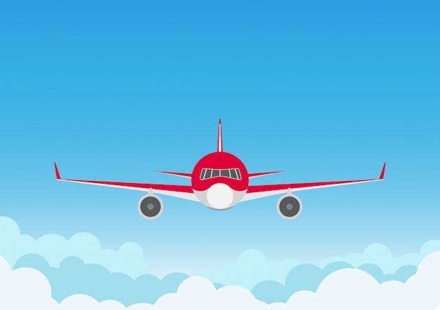 Avião no fundo do céu azul
