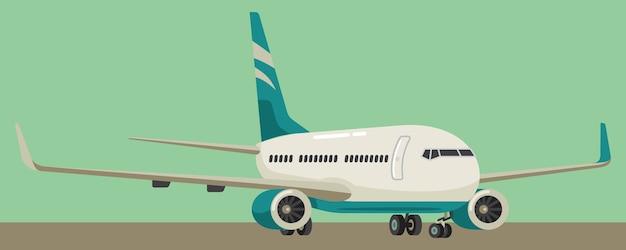 Avião pousando ilustração em vetor estilo simples