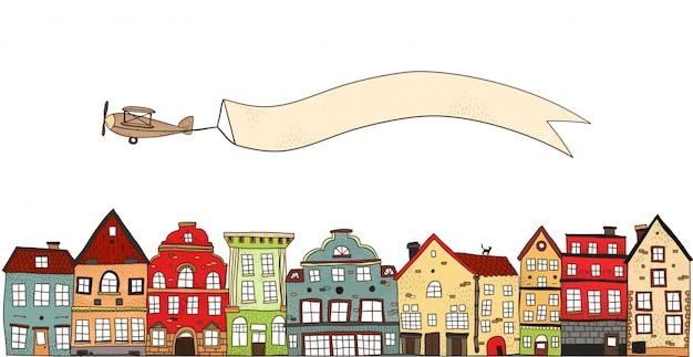 Avião sobre a composição da cidade