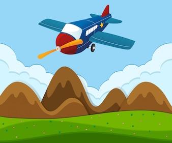 Avião sobrevoando a paisagem verde