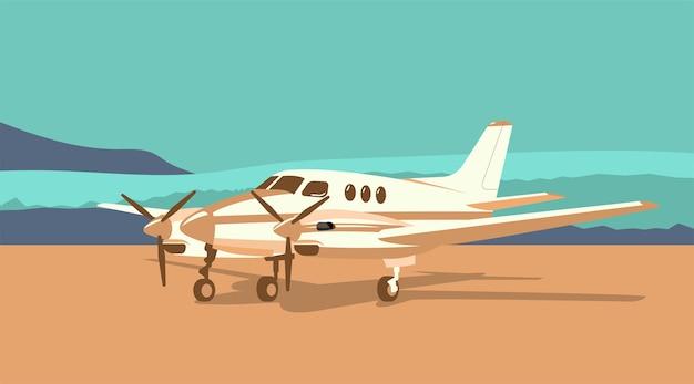 Avião turboélice bimotor no fundo de uma paisagem abstrata. ilustração vetorial.