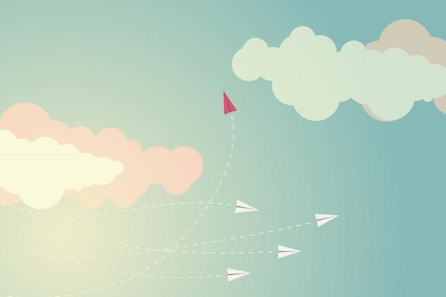 Avião vermelho estilo minimalista, mudando de direção e uns
