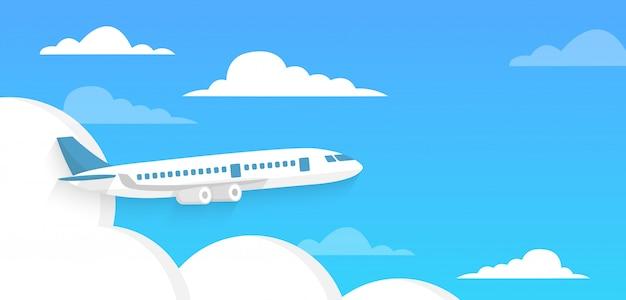 Avião voa no céu e nuvem sobre fundo azul. hora do conceito de viajar. em estilo simples.