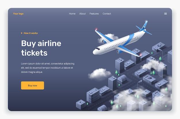 Avião voador isométrico e nuvens acima da cidade. modelo de página de destino.