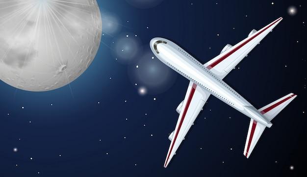 Avião voando à noite