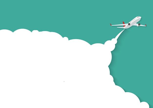 Avião voando com lugar para texto.