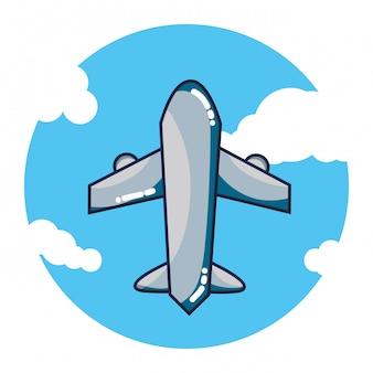 Avião voando dos desenhos animados