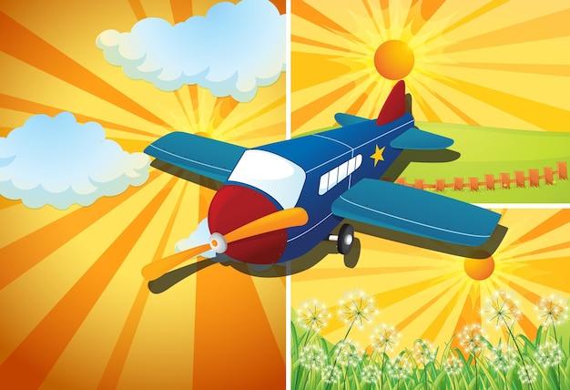 Avião voando e três cenas diferentes