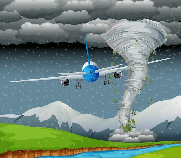 Avião voando em mau tempo