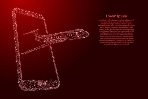 Avião voando fora de uma tela de smartphone de linhas vermelhas poligonais futuristas e estrelas brilhantes.